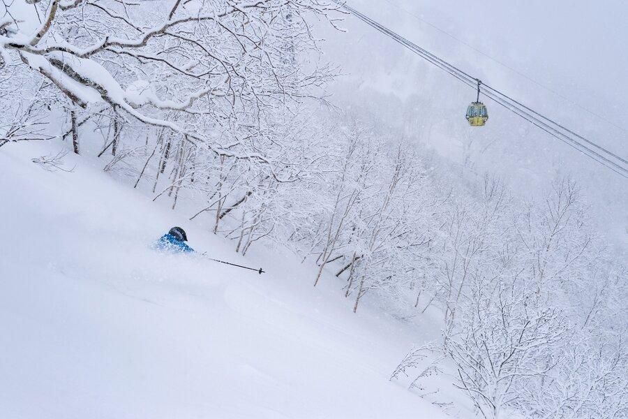 powder skiing at hoshino resorts tomamu