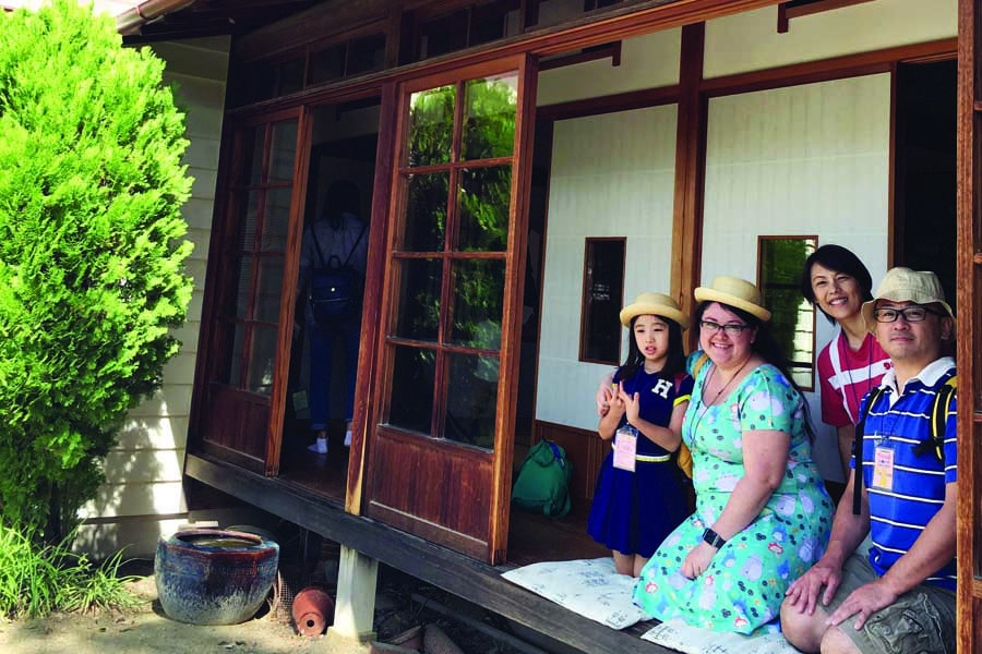 sally with lyann tomoko and lyanns dad tadayoshi at satsuki meis house aichi expo memorial park - best places to visit in Japan with kids