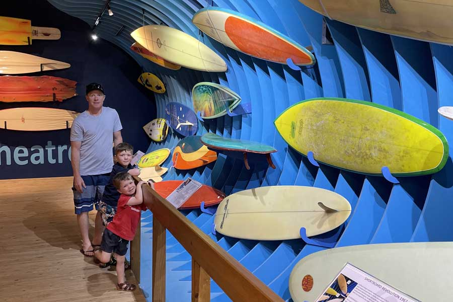 the boys loved the vibrant displays at the australian national surf museum - Great Ocean Road family trip