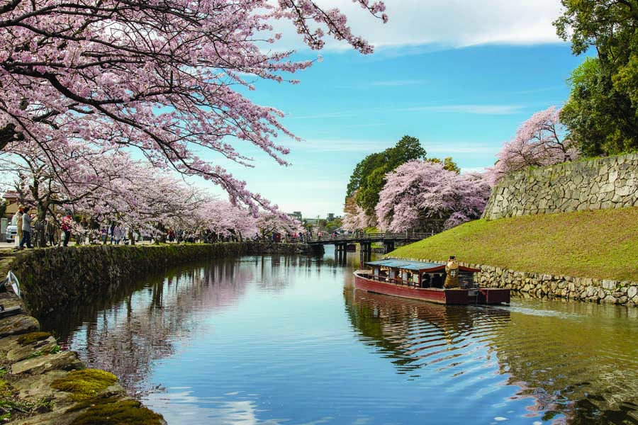 the moat at hikone castle - best places to visit in Japan with kids