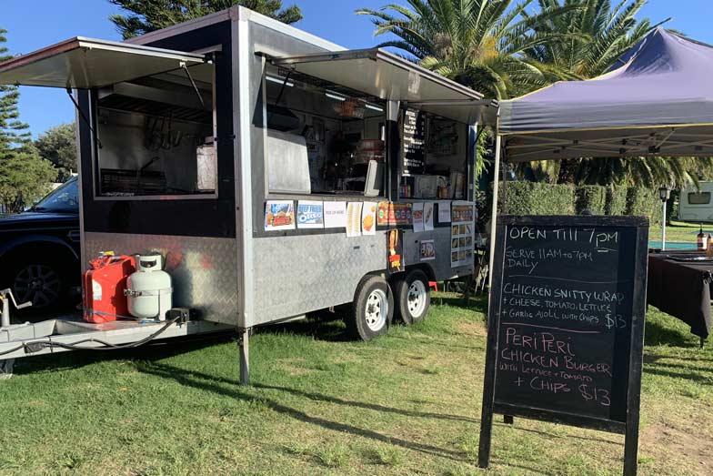 a food truck at toowoon bay holiday park