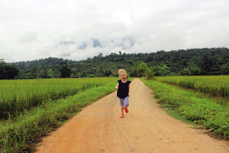 Beatrice at the homestay, Thailand Travel with five year old
