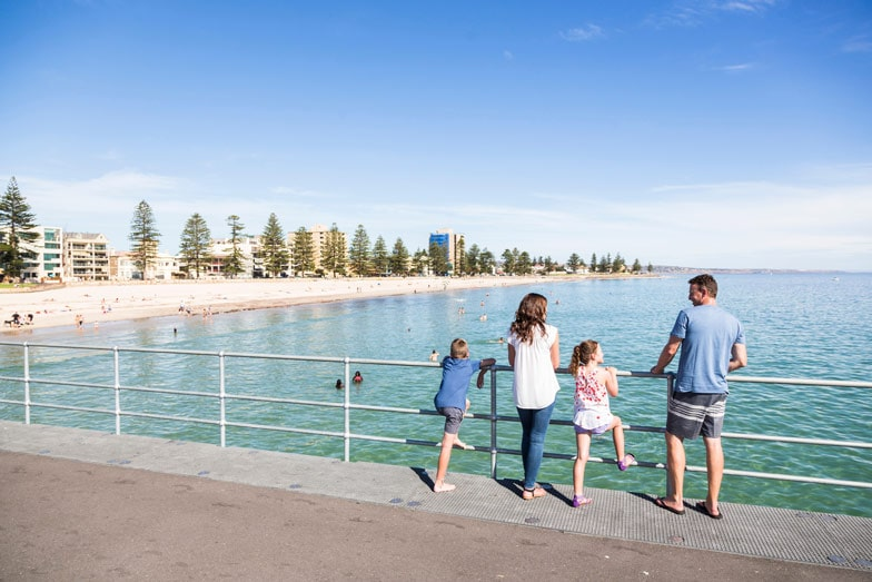 A family at Glenelg. Image South Australian Tourism Commission