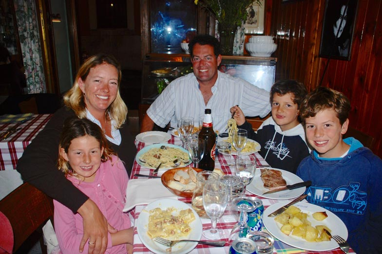 Belinda and her family eating at a neighbourhood trattoria in Rome
