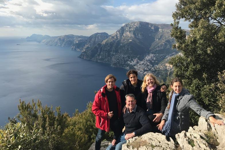 Belinda and her family hiking the Footpath of the Gods above he Amalfi Coast