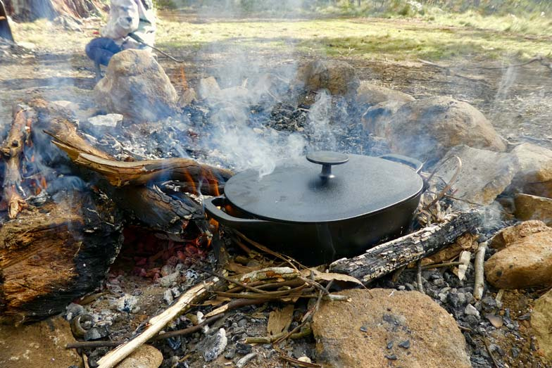 Cooking chicken soup on the campfire. Image Hadassa Rorke