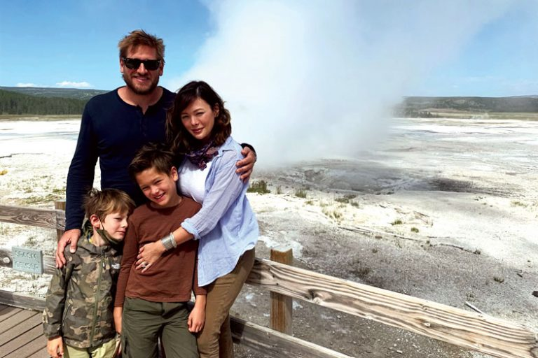 Curtis and his family in Yellowstone National Park