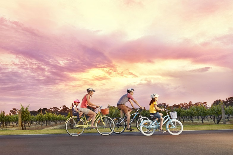 Cycling in the Swan Valley. Image Tourism Western Australia