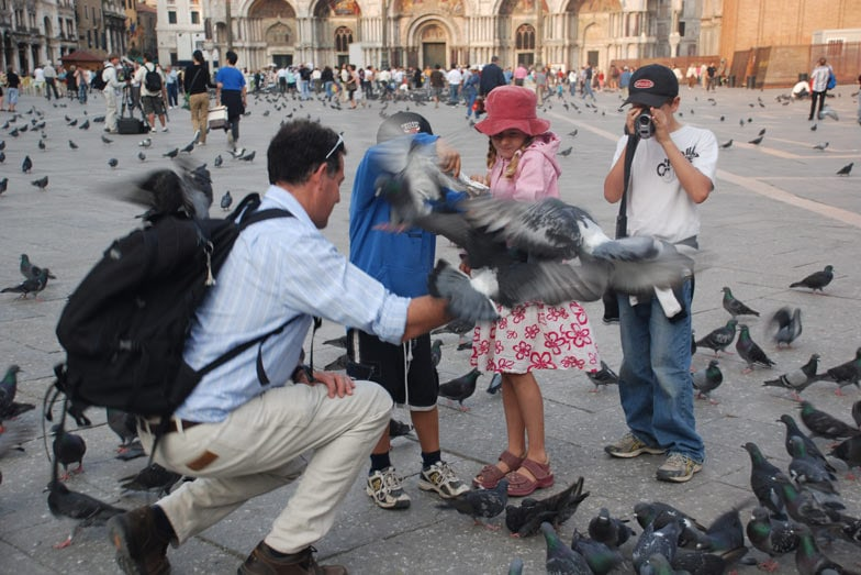 Feeding the pigeons in Piazza san Marco