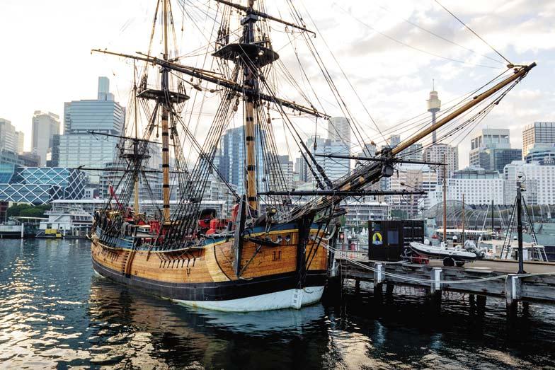 The HMB Endeavour an Australian built replica of James Cooks ship on exhibit at the Australian National Maritime Museum