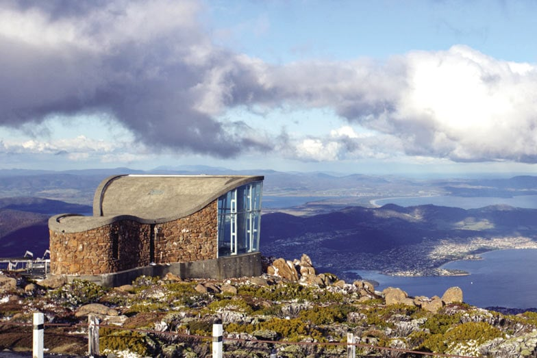 The view over Hobart from Mount Wellington Lookout. Image Tourism Australia Graham Freeman