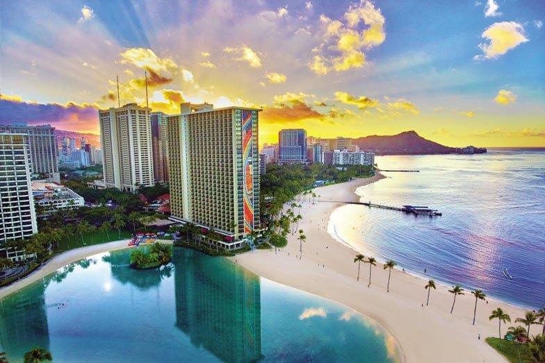 An aerial view of Hilton Hawaiian Village Waikiki Beach Resort. Image Hilton Hotels and Resorts