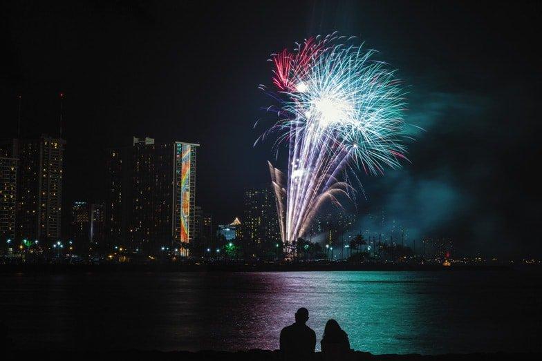 Enjoy the free fireworks show at Waikiki. Image Tor Johnson Hawaii Tourism Authority