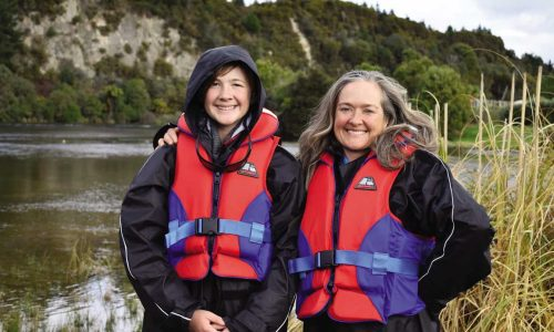 feature suited up to go jet boating at huka falls